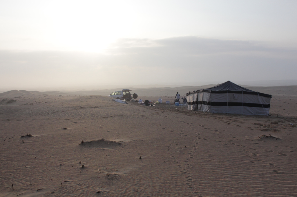 The camp site in the morning mist, before the GRC arrived.